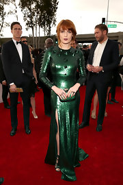 This spiked emerald gown looked a bit costume-y yet so Florence on the Grammy red carpet.