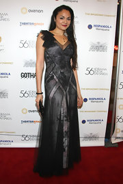 Karen wore a romantic chiffon evening dress with a delicate floral print for the Drama Desk Awards.