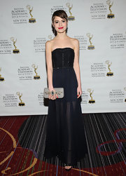 Sami Gayle stunned in a strapless black and navy dress that featured a full sheer skirt and a studded bodice.