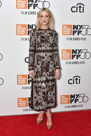 Carey Mulligan looked vibrant in a sequined midi dress by Valentino at the New York Film Festival premiere of 'Wildlife.'