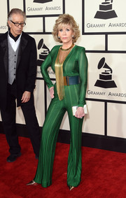 Jane Fonda brought a funky '70s vibe to the Grammys red carpet with this green Balmain jumpsuit.