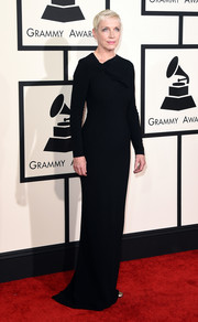 Annie Lennox kept it subdued at the Grammys in a long-sleeve black evening dress with an asymmetrical neckline.