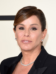 Melissa Rivers fixed her hair into a neat ponytail with side-swept bangs for the Grammys.
