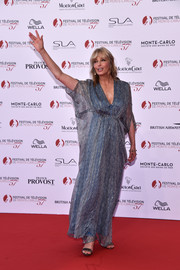 Bo Derek donned a printed blue caftan for the Monte Carlo TV Festival opening ceremony.