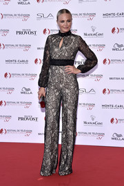Malin Akerman looked statuesque in a Red by Sebastian Gunawan lace-overlay jumpsuit at the Monte Carlo TV Festival opening ceremony.