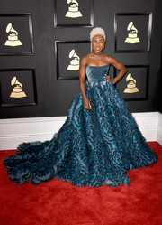 Cynthia Erivo was hard to miss in her voluminous Luisa Beccaria strapless ball gown at the 2017 Grammys!