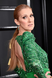 Celine Dion sported a simple brushed-back ponytail at the 2017 Grammys.