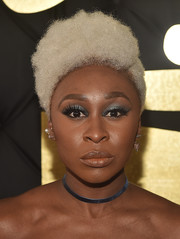 Cynthia Erivo looked funky with her bleached curls at the 2017 Grammys.