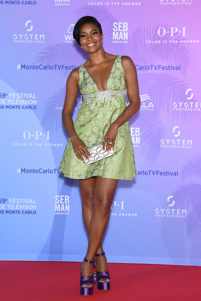 More Pics of Gabrielle Union Baby Doll Dress (4 of 12) - Gabrielle Union Lookbook - StyleBistro [clothing,dress,fashion model,cocktail dress,fashion,red carpet,carpet,fashion design,shoulder,event,gabrielle union,monte-carlo,monaco,tv series party,monte carlo tv festival]