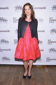 Kimberly Williams-Paisley was tough-chic in a quilted black leather jacket layered over a lovely cocktail dress at the African Children's Choir Gala.