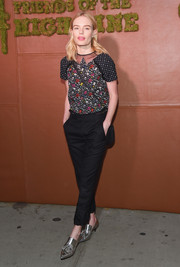 Kate Bosworth completed her all-Coach look with funky silver loafer heels.