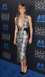 Felicity Huffman was at her fiercest best at the Critics' Choice Television Awards in a silver print dress with a navel-skimming neckline.