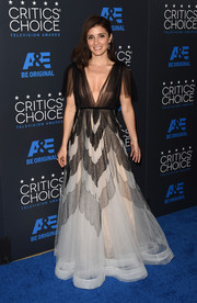 Shiri Appleby looked ethereal in a monochrome princess gown by Yanina Couture at the Critics' Choice Television Awards.