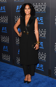 Tracee Ellis Ross looked smart in a sleeveless black tux coat teamed with pants at the Critics' Choice Television Awards.
