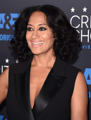 Tracee Ellis Ross attended the Critics' Choice Television Awards wearing her hair in thick center-parted curls.