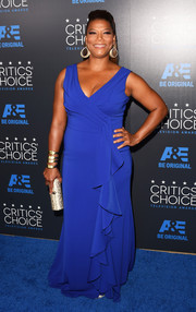 Queen Latifah got all prettied up in a cobalt ruffle gown by Badgley Mischka for the Critics' Choice Television Awards.
