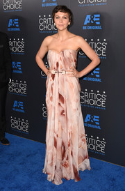 Maggie Gyllenhaal was sweet and feminine in a printed pink strapless gown by Alexander McQueen at the Critics' Choice Television Awards.