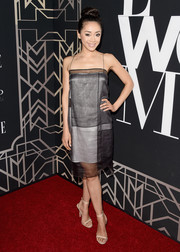 Aimee Garcia kept it minimalist yet sophisticated in nude skinny-strap sandals.