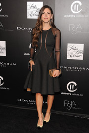 Lauren Gores Ireland styled her LBD with nude and black cap-toe platform pumps.
