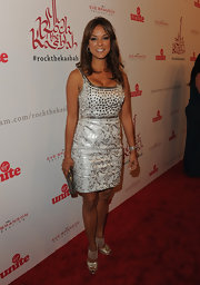 Eva la Rue's white and silver brocade dress at the Rock the Kasbah gala was a perfect mix of elegant and sexy.