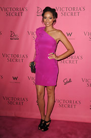 "Actress Amber Stevens showed off her hot pink one-shoulder dress while attending the ""What is Sexy"" event."