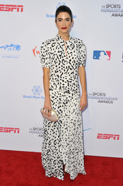 Nikki Reed donned a monochrome leopard-print gown by Self-Portrait for the 2019 Sports Humanitarian Awards.