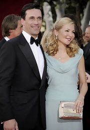 A bedazzled gold satin clutch added a dose of glitter to Jennifer Westfeldt's Emmys ensemble.
