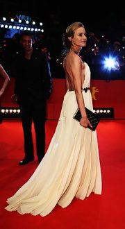 Diane Kruger carried a black Chanel book clutch to the Berlin Film Festival.