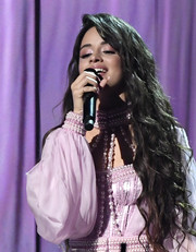 Camila Cabello performed at the 2020 Grammys wearing waist-length wavy tresses.