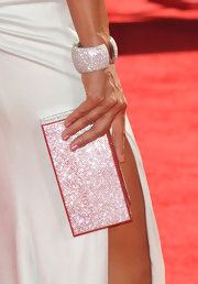 Eva la Rue's bejeweled box clutch at the Emmys echoed the elegance of her cuff bracelet.