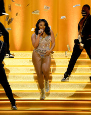 Megan Thee Stallion gave a dazzling performance at the Grammys wearing a Swarovski crystal-encrusted bodysuit by Dolce & Gabbana.