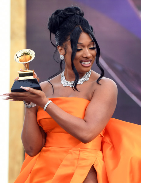Megan Thee Stallion showed off a Chopard bracelet, collar necklace, and earrings set at the 2021 Grammy Awards.