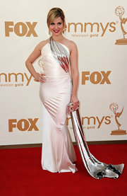 Cara Buono shined at the Emmys in a white draped satin gown with silver accents. She finished off the look with a chic chignon.