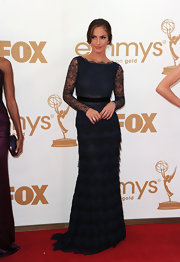Minka Kelly looked classically romantic in this navy lace gown at the Emmy Awards.