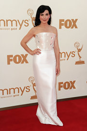 Julianna shined on the red carpet in a white gown with a corseted bodice with glass embellishments.