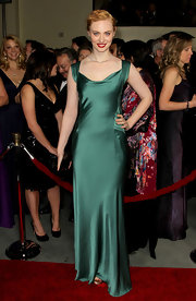Deborah Ann Woll played up her ginger locks in this silk green gown at the DGA Awards.