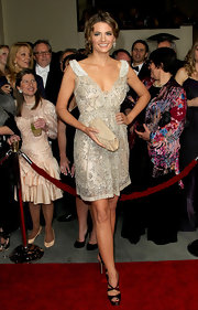 Stana Katic glittered in a cream beaded cocktail dress for the DGA Awards.