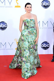 Julianna Margulies was a garden of beauty in this strapless brocade gown.