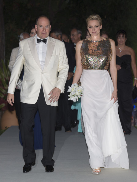 Charlene Wittstock looked like a true princess in this elegant white and gold gown.