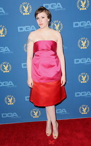 Lena Dunham wore this bright and cheerful two-tone taffeta dress to the DGA Awards.