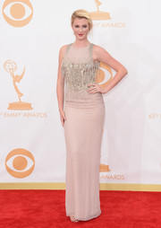 Ireland flaunted a fitted nude gown with beaded detailing.