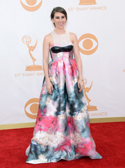 Zosia stunned in a custom-made watercolor dress that featured a leather bodice panel.