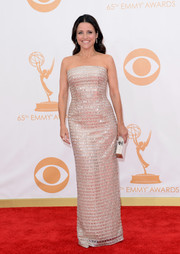 Julia Louis-Dreyfus sparkled in a beaded strapless dress for the red carpet of the 2013 Emmy Awards.