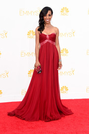 The 'Access Hollywood' anchor was glamorous in a strapless, draped empire waist gown at the 2014 Emmy Awards.
