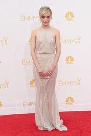 Taylor Schilling was Art Deco-glam in a beaded nude gown by Zuhair Murad during the Emmys.