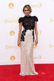 Keltie Knight brought the glam to the 2014 Emmy Awards with her sparkling two-toned gown boasting a lace top with exposed back and beaded skirt.