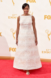 Regina King exuded timeless elegance in a fully beaded white A-line gown by Krikor Jabotian at the Emmy Awards.