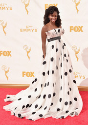 Teyonah Parris was a sight to behold on the Emmys red carpet in a Francesca Miranda strapless ball gown printed with oversized polka dots.