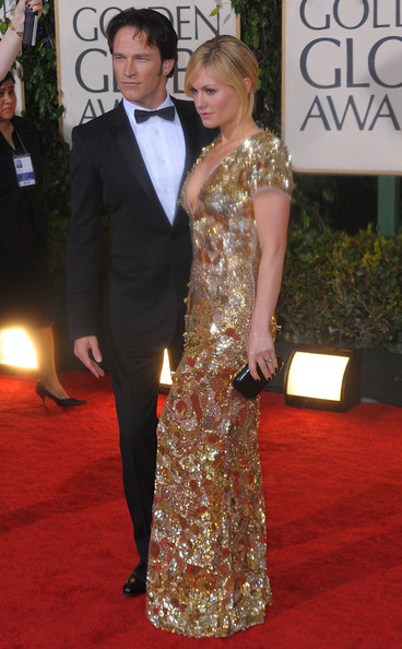 More Pics of Anna Paquin Beaded Dress (1 of 4) - Dresses & Skirts Lookbook - StyleBistro [red carpet,carpet,clothing,dress,formal wear,gown,shoulder,flooring,hairstyle,fashion,arrivals,stephen moyer,anna paquin,beverly hills,california,the beverly hilton hotel,golden globe awards]