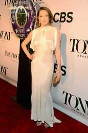 Carrie Coon chose a white satin gown with draped sleeves for her classic look at the 2013 Tony Awards.
